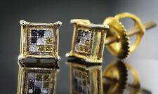 Bling Sale! Men's Genuine 0.05 CTW Tri-Tone Diamond 14K Gold Finish Earrings