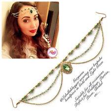 Hijab Pin Wedding Bridal Tikka Cheveux Bracelet Bijoux Bandeau or Green Leaf