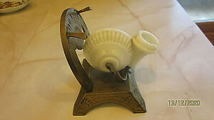 Antique Victorian Style Good Luck horseshoe Snail Ink Well Milk Glass Pen Rest