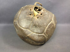 Ancien ballon de football en cuir à vessie 12 panneaux à lacet vintage rare