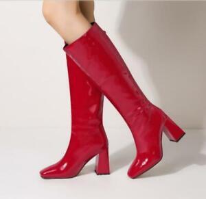 3 Colors Women Western Cowboy Square Toe Block Heel Mid Calf Knee High Boots L