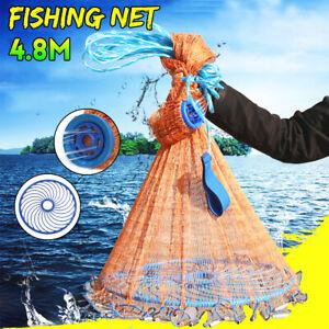 multifilamento in Rete di Nylon con Bersaglio Adatta per Acqua Dolce e salata Diametro 5,4 m WUPYI2018 Rete da Lancio per Pescatori