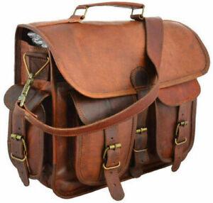 """18"""" Mens Briefcase Real Goat Leather Vintage Brown Messenger Shoulder Laptop Bag"""