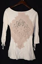 Free People Crochet Flower Back Long Sleeve Crisscross Front Top Shirt M