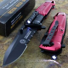 Tac-Force Speedster FIRE FIGHTER Pocket Rescue Knife Serrated LED Light NEW!!