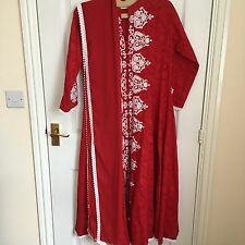 salwar kameez anarkali wedding lengha sari churidar indian bridal - Red 12-14