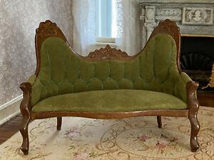 Vintage Miniature Dollhouse 1:12 Victorian Tufted Green Velvet Wood Ornate Sofa