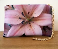 Clutch Bag Pink Floral Strap Faux Leather Chain Flat Handmade Travel Evening