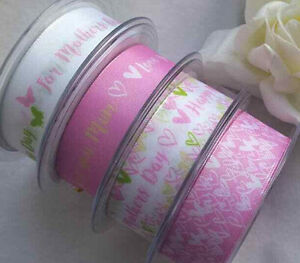 1mtr x 25mm BERISFORDS MOTHERS DAY RIBBON  Pink Hearts butterflies Love you Mum