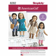 "Simplicity Pattern 8282 AMERICAN GIRL DOLL CLOTHES FOR 18"" DOLLS tunics dresses"