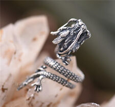 Chinese Dragon Mens 925 Sterling Silver Antique Dragon Ring Punk Adjustable