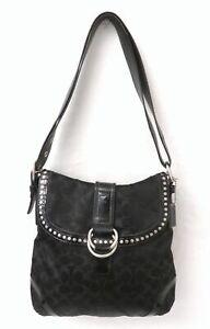 Coach F12852 Signature Black Canvas Studded Flap Convertible Shoulder Bag Purse