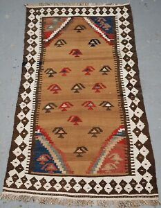 Antique Small Tribal Kilim by the Luri or Bakhtiari, Camel Wool & Cotton, 1900