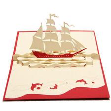 Handmade Sailing Ship Boat Greeting Card Birthday Holiday Gift N3