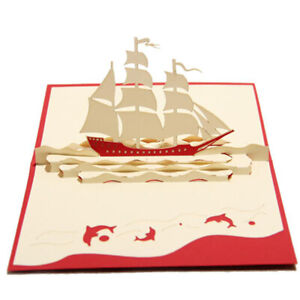 Handmade 3D Sailing Ship Boat Greeting Card For Happy Birthday Mid Autumn Gifts