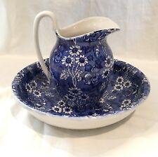antique James Kent Ltd. ceramic bowl & pitcher Louis 14th England