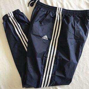 NWOT Adidas Track Jogging Windbreaker Pants Mens navy Blue 3 Stripes Logo Zip XL