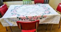 Vintage Mid Century Colorful Floral Print Tablecloth Pink Flowers 52 x 46.5""