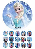 "FROZEN PRINCESS ELSA 7.5"" ROUND EDIBLE BIRTHDAY CAKE TOPPER & CUPCAKE TOPPERS"