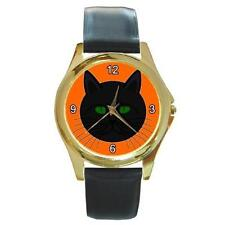 HALLOWEEN FUNNY BLACK CAT FACE GREEN EYES ON ORANGE GOLD-TONE WATCH 9 OTHR STYLS
