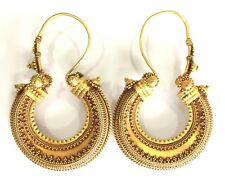 Rare! antique collectible ethnic tribal solid 18K Gold Jewelry hoop earring pair