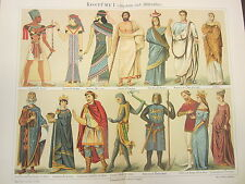 COSTUMES I (ANTIQUITY & MIDDLE AGES) 1800'S GERMAN CHROMOLITHOGRAPH-CLOTHING
