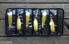 LOT OF 6 Krocodile Spoon Casting 5oz Holographic Laser Siwash Hook + BAG - Gold