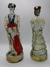 More details for vintage breweriana - novelty matador & spanish lady brandy glass bottle set
