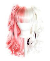 20'' Lolita Wig + 2 Pig Tails Set Half White and Pink Split Gothic Sweet