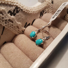 Arizona Blue Turquoise leverback earrings in platinum over Sterling silver