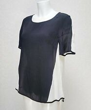 GREAT PLAINS two tone Black White Viscose short sleeve high neck Blouse Top S 10