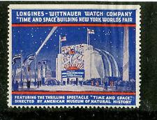 Vintage Poster Stamp Label NY Worlds Fair 1939 LONGINES WITTNAUER WATCH CO