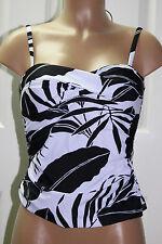 NEW Tommy Bahama Black White Palm Twisted Tankini Swimwear Top size XS TSW36780T
