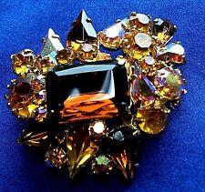 Vintage Jewellery Sparkling Amber AB RHINESTONE Domed Brooch Pin Prong Set