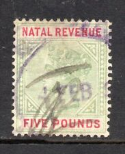 1898 South Africa Natal Bft:96 £5 Green & Red.Fine Used Revenue.