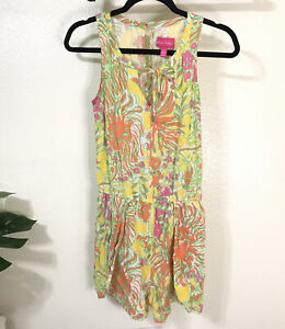 Lilly Pulitzer for Target Yellow Floral Challis Romper XS