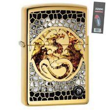 Zippo 0057 Anne Stokes-Dragon Fusion High Polish Brass Lighter + FLINT PACK