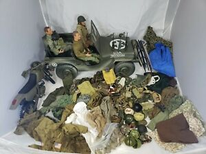 GI Joe? Dragon? Accessories Lot- 1/6, clothes, belts, jeep, motorcycle, 100+