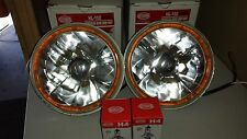 ANGEL EYE LED AMBER HALO RINGED 7 INCH QH H4 HALOGEN UNIVERSAL HEADLIGHT SET