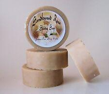 Sandalwood Rose Shaving Soap with Goat's Milk and Honey, One 3 inch Round Bar