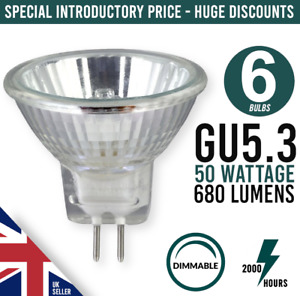 6 x 50w Mains 12v GU5.3 MR16 M262 Halogen Spot Light Bulb Dimmable Dichroic Lamp