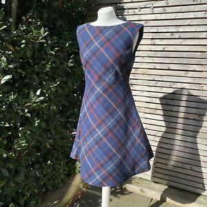 Ness Size 14 Navy Mix Penelope Wool Blend Tartan Plaid Tweed Shift Dress VGC