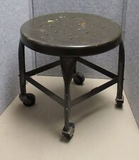 Early Vintage Toledo Metal Furniture Co Industrial Shop Mini Stool With Casters