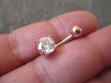 Round Rose Gold Titanium IP Belly Button Navel Ring Jewelry Clear Gem