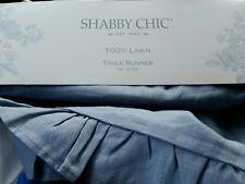New listing Shabby Chic Rachel Ashwell French Blue Ruffled Linen Table Runner 16x72
