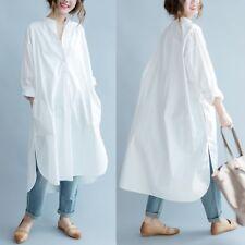 Damen Baumwolle langes Shirt Kleid weiß Bluse Freizeit Baggy Locker