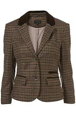 �� £60 TOPSHOP Tweed Style Wool Mix 3/4 Sleeve Riding Blazer Elbow Patches UK 8