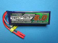 TURNIGY NANO-TECH 6000mAh 3S LIPO BATTERY 11.1V 25-50C HXT 4MM TRAXXAS E-REVO RC