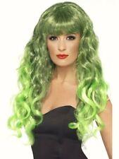 Peluca Rizado verde Sirena Largo Flecos Glamour Fancy Dress Costume para Mujer