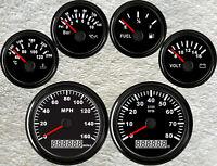 6 Gauge set,85MM 160MPH GPS Speedo,Tacho,Fuel Level,Water Temp,Volt,Oil Pressure
